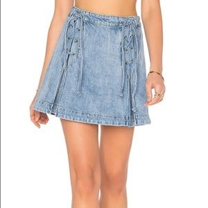 Free People Denim Lace Up Mini Skirt